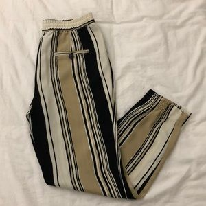 Zara Striped Black & Tan Trousers With Pockets